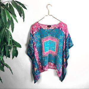 Tolani • Silk Multicolored Floral Caftan Blouse.